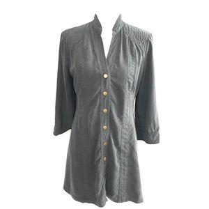 Soft Surroundings Gray Button Down Midi Dress